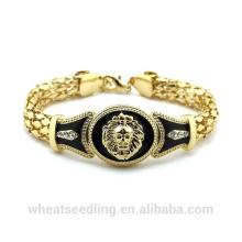 Moda ouro étnico indiano 18k banhado a ouro serpente cadeia leão cabeça pulseira para as mulheres