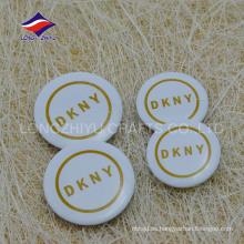 Impreso logotipo de la empresa de color blanco recuerdo estaño pin