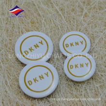 Printed company logo white color souvenir tin pin