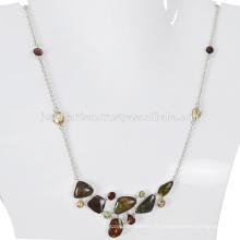 Natürliche Ammolith und Multi Edelstein 925 Sterling Silber Halskette Schmuck