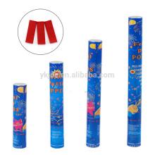 Cañón de confeti de fábrica con rectángulo de papel rojo y azul para decoración de graduación