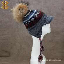 Fashion High Quality Flat Brim Custom Mens Winter Knitting Hat