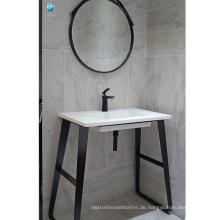 Badezimmermöbel schwarz stalnless Stahlboden einzelne Waschbecken wasserdicht Badezimmer Eitelkeit