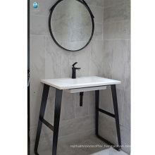 Bathroom furniture black stalnless steel floor single sink waterproof bathroom vanity