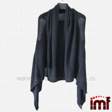 Top Grade 100% Cashmere Black Pattern Knitting Poncho for Women