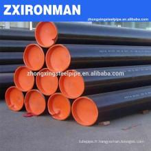 ASME b36.10 ASTM A106B/a53 gr.b sch40/sch80 pipe en acier sans soudure