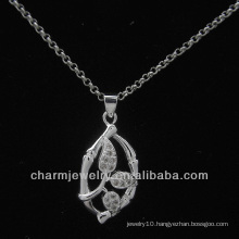 CZ Rhodium Plated Sterling Silver Pendant PSS-010