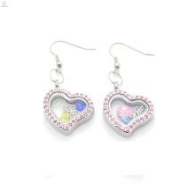 Brincos de coração encantos bonito do coração de cristal rosa, brincos de jóias em aço inoxidável magnético