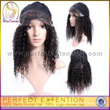 Pelo humano de la onda rizada de la alta calidad China Mejores pelucas del cordón