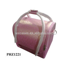 caliente la venta bolso cosmético del PVC con 4 bandejas extraíbles dentro de alta calidad, opciones de color diferentes