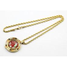 Neuer Entwurfs-Goldüberzug-Edelstahl-lebende Locket-Halskette