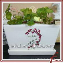 Pot de fleurs en céramique blanc glacé