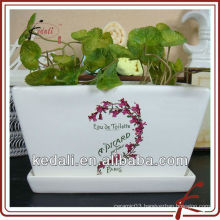 white glazed ceramic flower pot