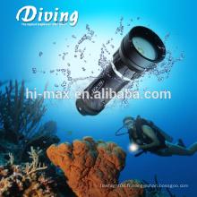Éclairage à main de haute intensité lampe de poche rechargeable led / vidéo de plongée