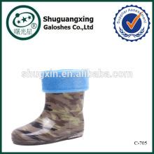 Мода ПВХ дождя сапоги детские плоский каблуки C-705
