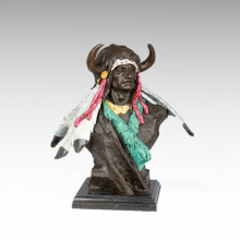 Bustes Laiton Statue Tribal Chef Décoration Bronze Sculpture Tpy-471