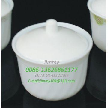 Pot à sucre en verre de jade blanc