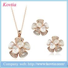 Flower jewelry set white earring pendant kolye 2015 top 10