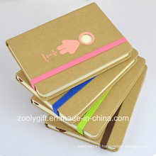 Mini Die-Cut Printing Kraft Hard Cover Pocket Notebook with Color Elastic Strap