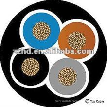 noyau de cuivre 4 core silicone caoutchouc câble