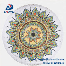 2018 Neues Design Mandala Lotus Blume gedruckt rundes Badetuch mit Quaste
