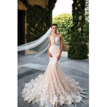 2017 Backless See Through Vestidos de novia Robe De Mariage Champagne Mermaid Lace Robe de mariée MW2178