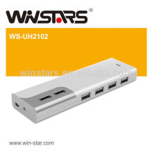 480Mbps USB 2.0 10-Port HUB with Power Adapter and Card Reader,support Plug-n-Play, hot swappable