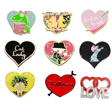 Custom Glitter Powder Heart Shape Hard Enamel Emblem
