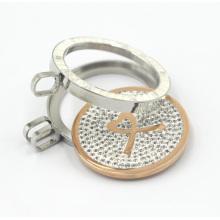 Locket de prata de alta qualidade com pingente flutuante da placa da moeda