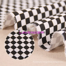 Black&White Checkerboard Patterns 250GSM Home Textile Canvas Fabric