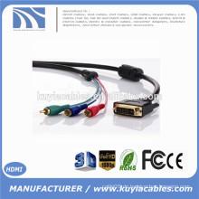Fabrik Preis Gold überzogen DVI ZU 3RCA KABEL einzelne Verbindung Mann zu Mann 3rca Kabel 1m 1.8m 2m 3m 5m 10m 15m 20m Optional