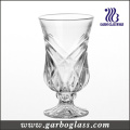 5oz Line Emgraved Glass Tea Cup with Foot