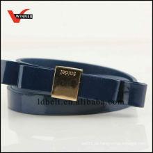 Neuester Entwurf populärer Marine-blauer PU-Gurt