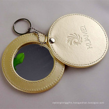 Lady Gift Customized Stamp Logo Pocket Leather Makeup Mirror (B2006)