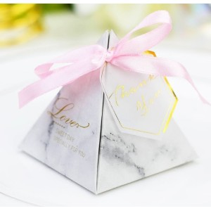 Pink ribbon wedding candy box with tags