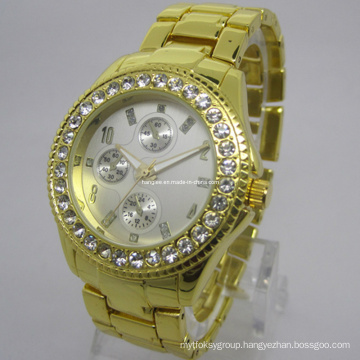 Gold Luxury Watch with Crystal