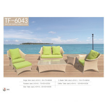 Simple pattern modern outdoor furniture rattan sofa set with cushion