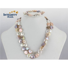 12-13mm AA Coin Pearl Set Mixed Color Bracelet and Necklace Pearl Set
