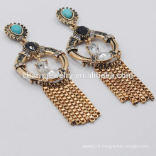 Fashion Elegant High Quality Retro Turquoise Creative Tassel Earrings For Women SSEH018