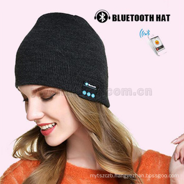 Wholesale 100% acrylic bluethooth beanie knitted music caps headset speaker wireless Mic