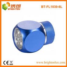 Fuente de la fábrica Material por encargo del metal de la promoción CR2032 Batería accionada mini 6 llevó la luz de la antorcha con Keychain
