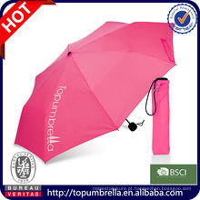 Atacado impresso Manual aberto promocional 3 guarda-chuva dobrável