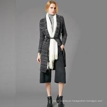 15JWS0722 primavera verão nova série moda mulher lã cashmere tarja malha longo vestido com mangas