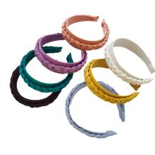 Bandeau Opaska Solid Color Designer Fabric Braid Hairband for Women Girls Hair  Accessori Korean Wide Broadside Headband Wholesale