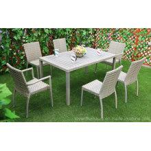 China Moderno Patio Hotel Rattan Grey mesa Set y sillas de comedor Jardín Muebles de exterior
