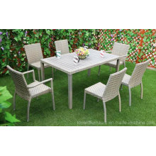 China Modern Patio Hotel Rattan Conjunto de mesa cinza e cadeiras de jantar Jardim Outdoor Furniture