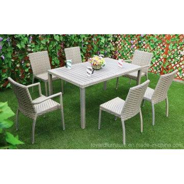China Modern Patio Hotel Rattan Grau Tisch Set und Esszimmer Stühle Garten Outdoor Möbel