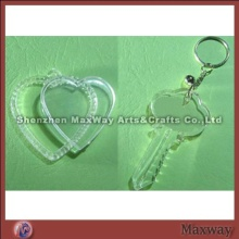 Elegant clear polished key-shaped promotional acrylic/PMMA key chain/ring/holder with your picture o