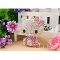 Hot creative Korea wind Super crystal hello kitty cat car key chains rhinestone metal bag hanger wholesale fashion keychains