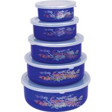 Эмаль Ice Bowl 5PCS Набор с пластиковой крышкой 10-18см 204ED